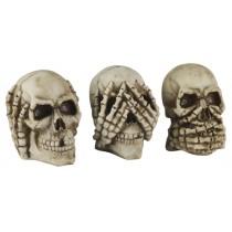 Set Of 3 Skulls - Hear Speak, & See No Evil - 13cm