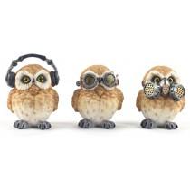 Set Of 3 Steampunk Owls - Hear Speak, & See No Evil 8.5cm