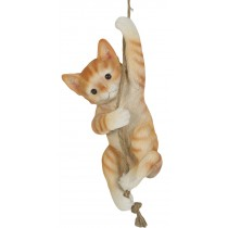 Climbing Ginger Cat On Rope 34cm