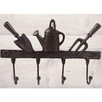 4 Hooks - 3 Garden Tools - Brown