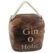Faux Leather Gin O Holic Doorstop (Case Price for Case Qty Only)