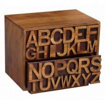 Acacia Lisbon Alphabet Bedside 2 Drawer Cabinet