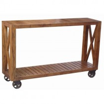 Acacia Lisbon Console Table On Wheels ** Seconds **
