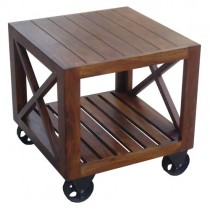 Acacia Lisbon Side Table On Wheels ** Seconds **