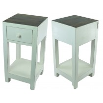 Acacia Lisbon Stand Small White With Polished Top Lamp Table *Seconds*