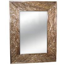 Mango Wood Leaf Design Carved Mirror