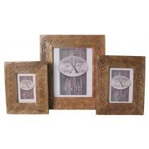 Mango Wood Celtic Design Set/3 Photograph Frames