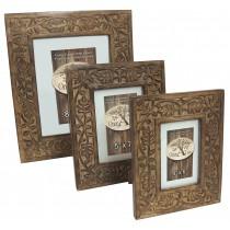 Mango Wood Leaf Photograph Frames Set Of 3