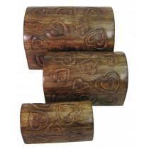 Mango Wood Heart Set Of 3 Domed Boxes 23cm