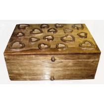 Mango Wood Heart Design Vanity Box (Mirror & Drawer)
