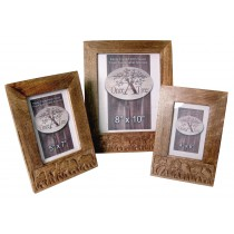 Mango Wood Elephant Design Set Of 3 Photo Frames