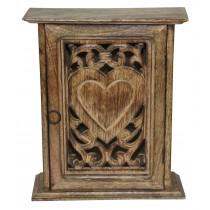 Mango Wood Heart Key Box