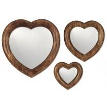 Mango Wood Set/3 Free Standing or Hanging Heart Mirrors