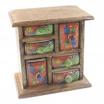 Mango Wood Ceramic 6 Drawer Almirah (2 Sizes Of Drawer)