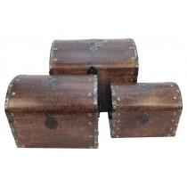 Mango Wood Dome Boxes with Metal Overlay Set Of 3
