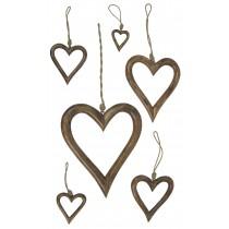 Mango Wood Set Of 6 Hanging Hearts