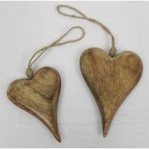 Mango Wood Set Of 2 Hanging Hearts