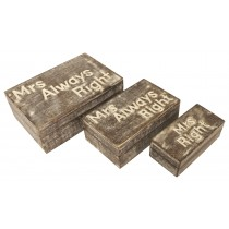Mango Wood Set Of 3 Mrs Always Right Boxes - Burnt White Finish