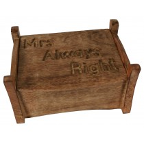 Mango Wood Mrs Always Right Jewellery Box