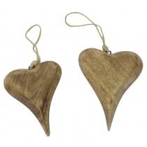 Mango Wood Set Of 2 Hanging Hearts Natural