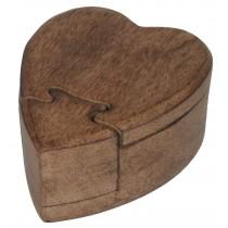 Mango Wood Heart Puzzle Box