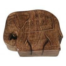 Mango Wood Elephant Puzzle Box