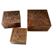 Mango Wood Acorn Design Set/3 Boxes