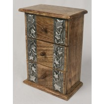 Mango Wood 3 Drawer Metal Overlay Chest 27cm