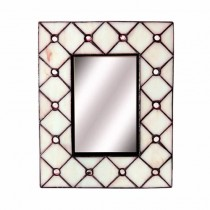 Cream Glass Frame & Mirror 26cm