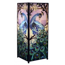 Blue Peacock Square Lamp Screen Printed - 27cm