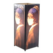 Lady With Mask Square Lamp Screen Printed - 27cm