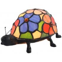 Flower Design Tiffany Beetle Lamp With Cast Iron Base - 22cm