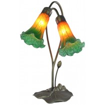 Double Lily Lamp Amber/Green - 40cm