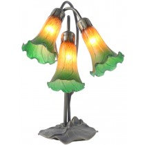 Triple Lily Lamp  Amber/Green - 40cm