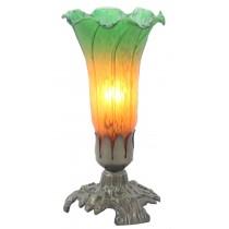 Upward Lily Lamp Amber/Green - 20.5cm
