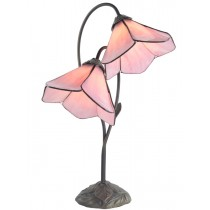 Dark Antique Finish - Double Pink Petal Shade Lamp  - 59cm