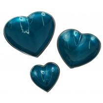Aluminium Set of 3 Heart Dishes Blue