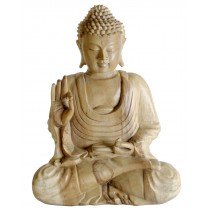 Wooden Meditating Buddha Statue 40cm - Natural Finish