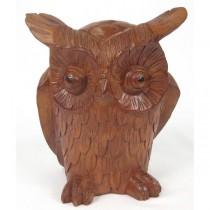 Wooden Owl (22cm) Brown Finish - EX DISPLAY
