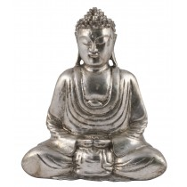 Wooden Buddha Hands in Lap - Antique Silver Finish
