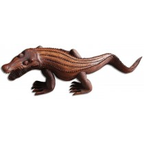 Wooden Crocodile - Brown Polished - Suar Wood - 100cm