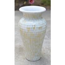 PR White Terracotta & Glass Vase - 80cm