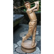 Wooden Statue Of Male Golfer - Suar Wood - 80cm