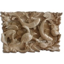 Wooden Turtle Wall Hanging - Natural Polished - Suar Wood - 32cm