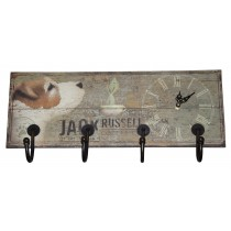 Jack Russell Wall Hanger (4 Hooks) With Clock *MIN QTY 2*