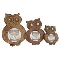 Mango Wood Ollie Owl Design Set Of 3 Photo Frames