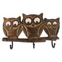 Mango Wood Ollie Owl Design Triple Hook