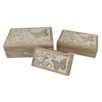 Butterfly Design Set Of 3 Oblong Boxes