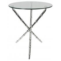 Aluminium Bamboo Table Glass Top