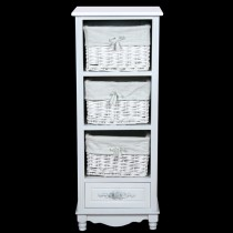 White Cabinet with 1 Drawer & 3 Baskets